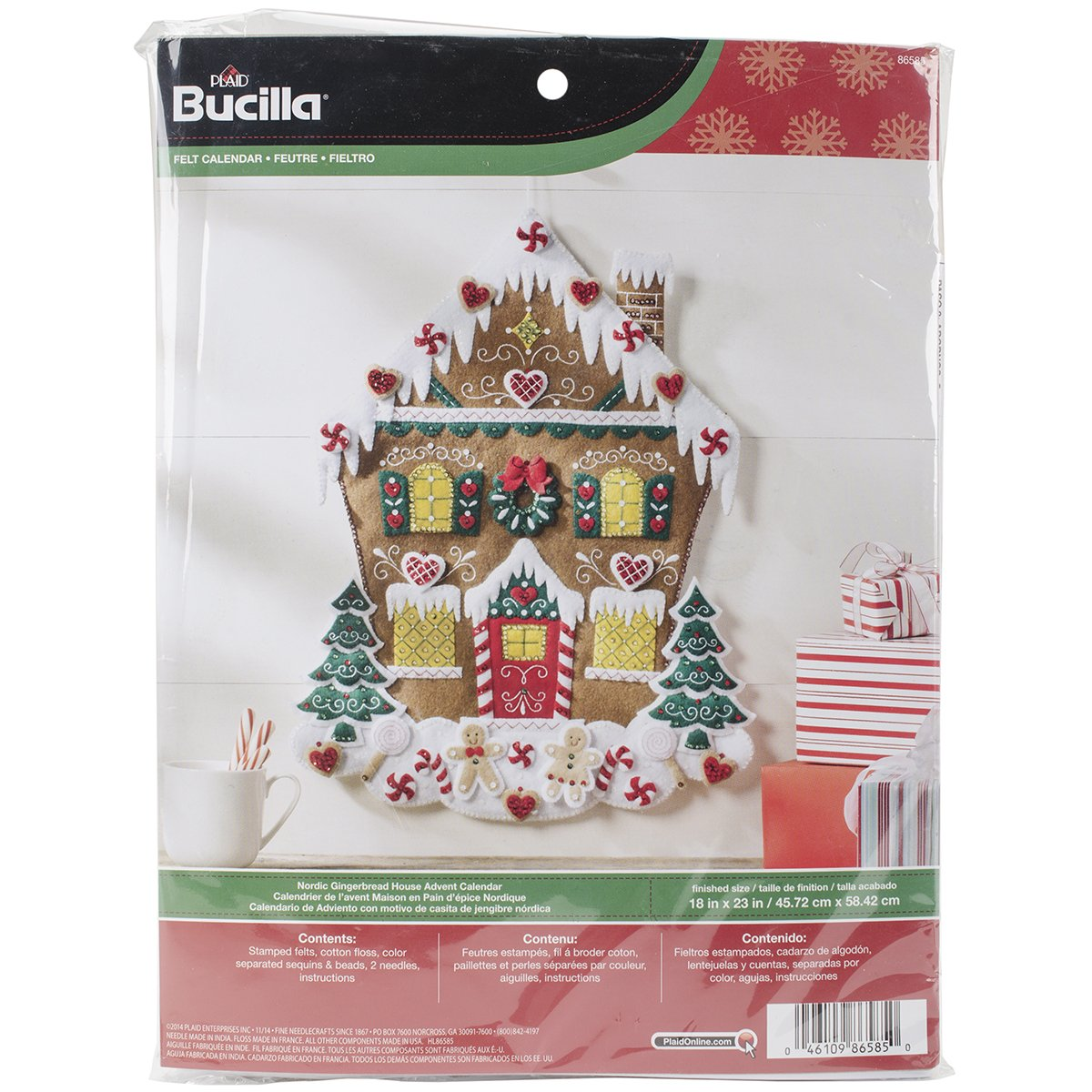 Bucilla Felt Applique Advent Calendar Kit, 18 by 25-Inch, 86585 Nordic Gingerbread House