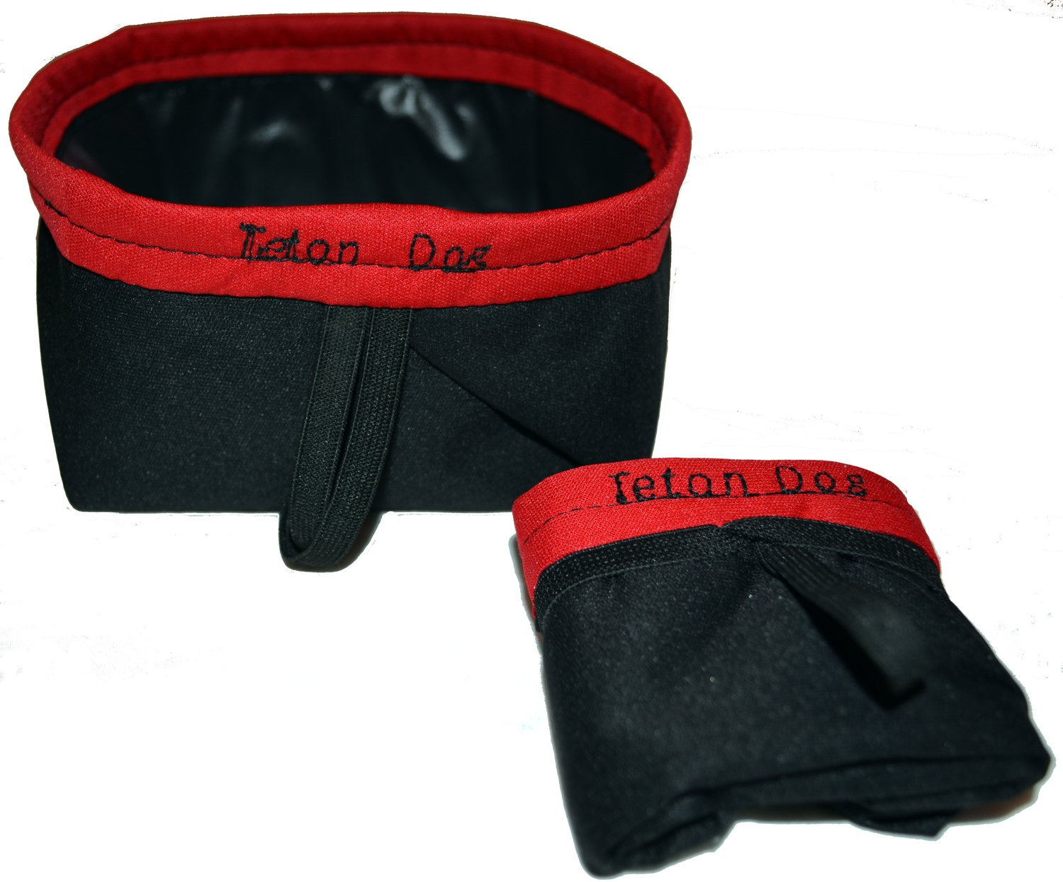 Black w Red Trim Trekking Black w Red Trim Trekking Made in USA 100% Waterproof Washable Fabric Collapsible Folding Travel Pet Dog Water Bowl (Jogging, Hiking, Camping or Car)(Black with Red Trim; Trekking)