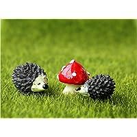 Miniature Garden Fairy Ornament Hedgehog & Mushroom Set (Hedgehog Set)