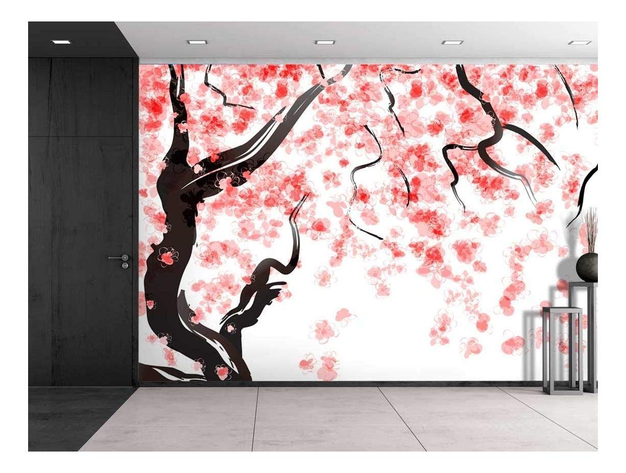 large wall mural japanese cherry tree blossom in watercolor painting style vinyl wallpaper. Black Bedroom Furniture Sets. Home Design Ideas