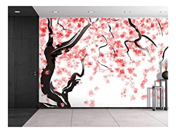 Wall26 Large Wall Mural Japanese Cherry Tree Blossom In Watercolor Painting Style Self Adhesive Vinyl Wallpaper Removable Modern Decorating Wall