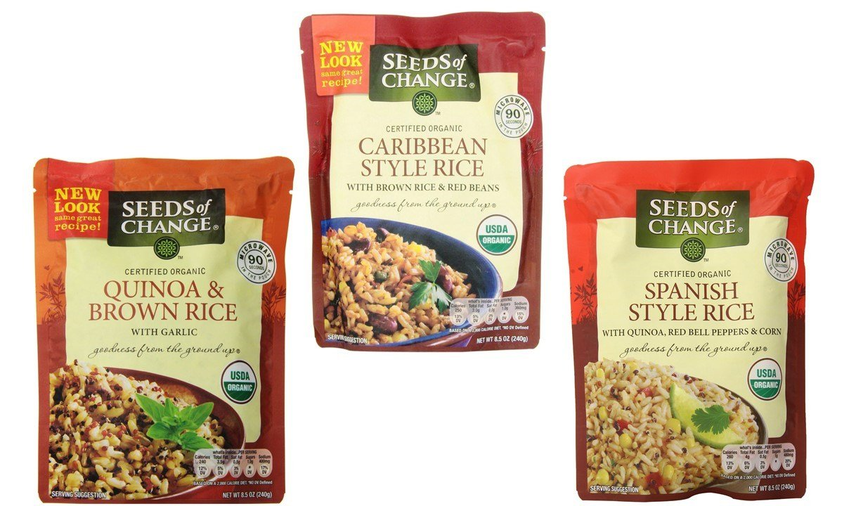 Seeds of Change Organic Heat & Eat Rice Side Dish 3 Flavor Variety Bundle, (1) each: Quinoa, Brown Rice w/Garlic, (1) Caribbean Style Brown Rice w/Beans, and Spanish Style Rice w/Quinoa, 8.5 Ounces