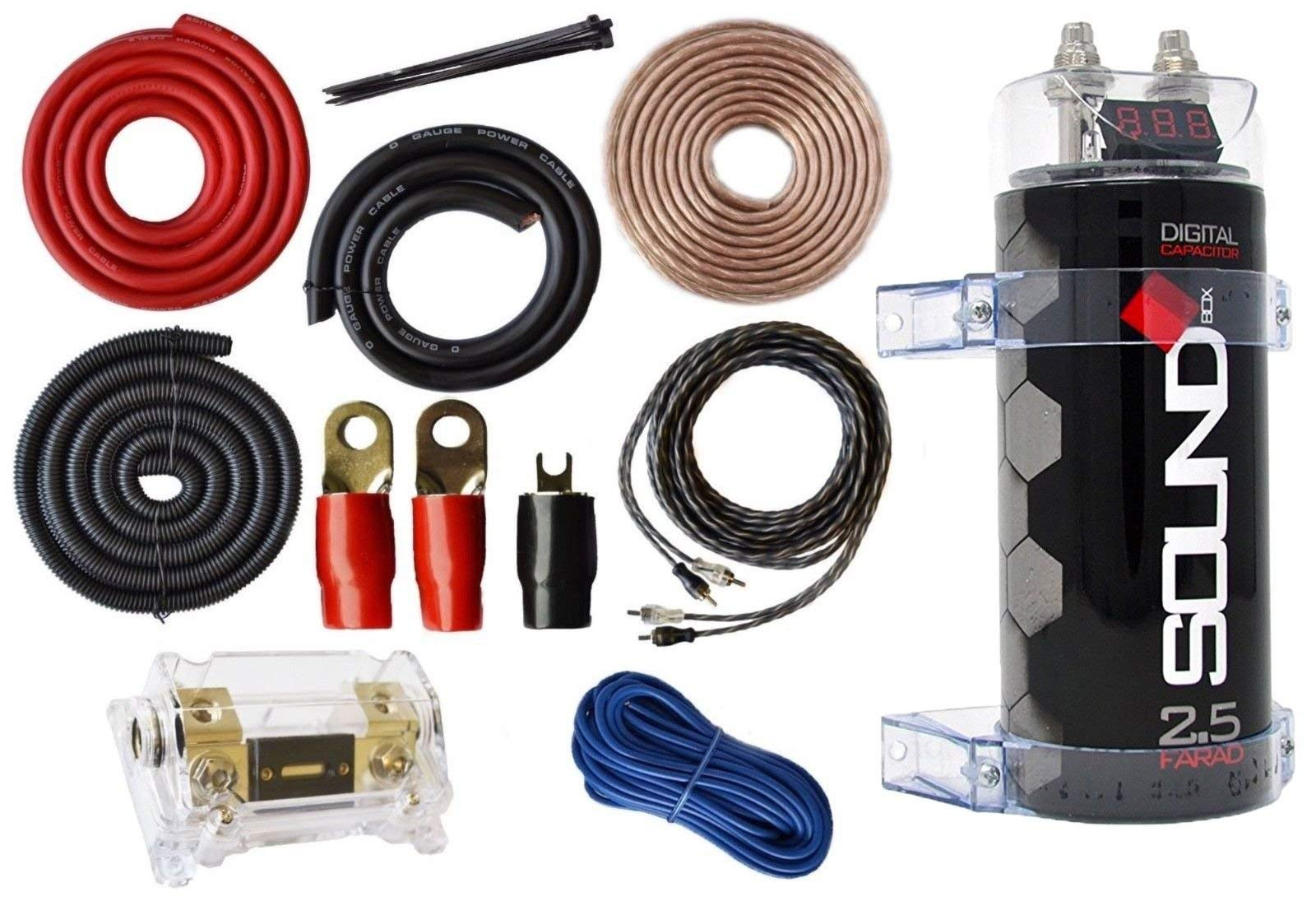 SoundBox 0 Gauge Amp Kit Amplifier Install Wiring & 2.5 Farad Digital Capacitor, 6000W Peak by SoundBox