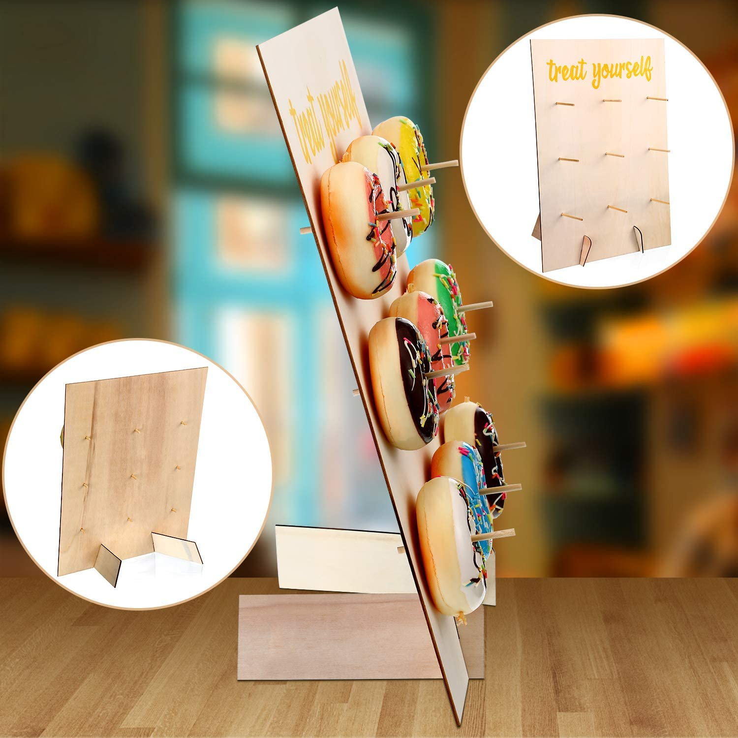 2 Pieces Reusable Donut Display Wall Doughnut Wall Display Stand Holder for Birthday Cake Wedding Party Donut Decoration