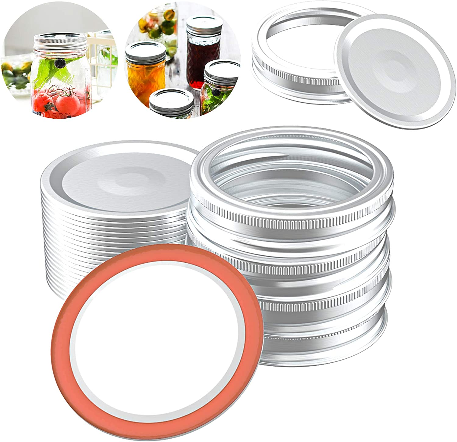Trooer 20 Sets Canning Lids and Rings for Regular Mouth Mason Jar Lids, Split-type Canning Lids Food Grade Rust Resistant Metal Bands or Rings with Silicone Seals For Food Storage Kitchen Accessories