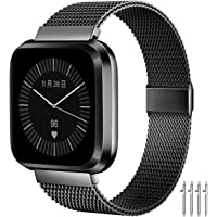 MioHHR Bands Compatible with Fitbit Versa/Fitbit Versa 2/Fitbit Versa Lite for Women Men, Breathable Stainless Steel…