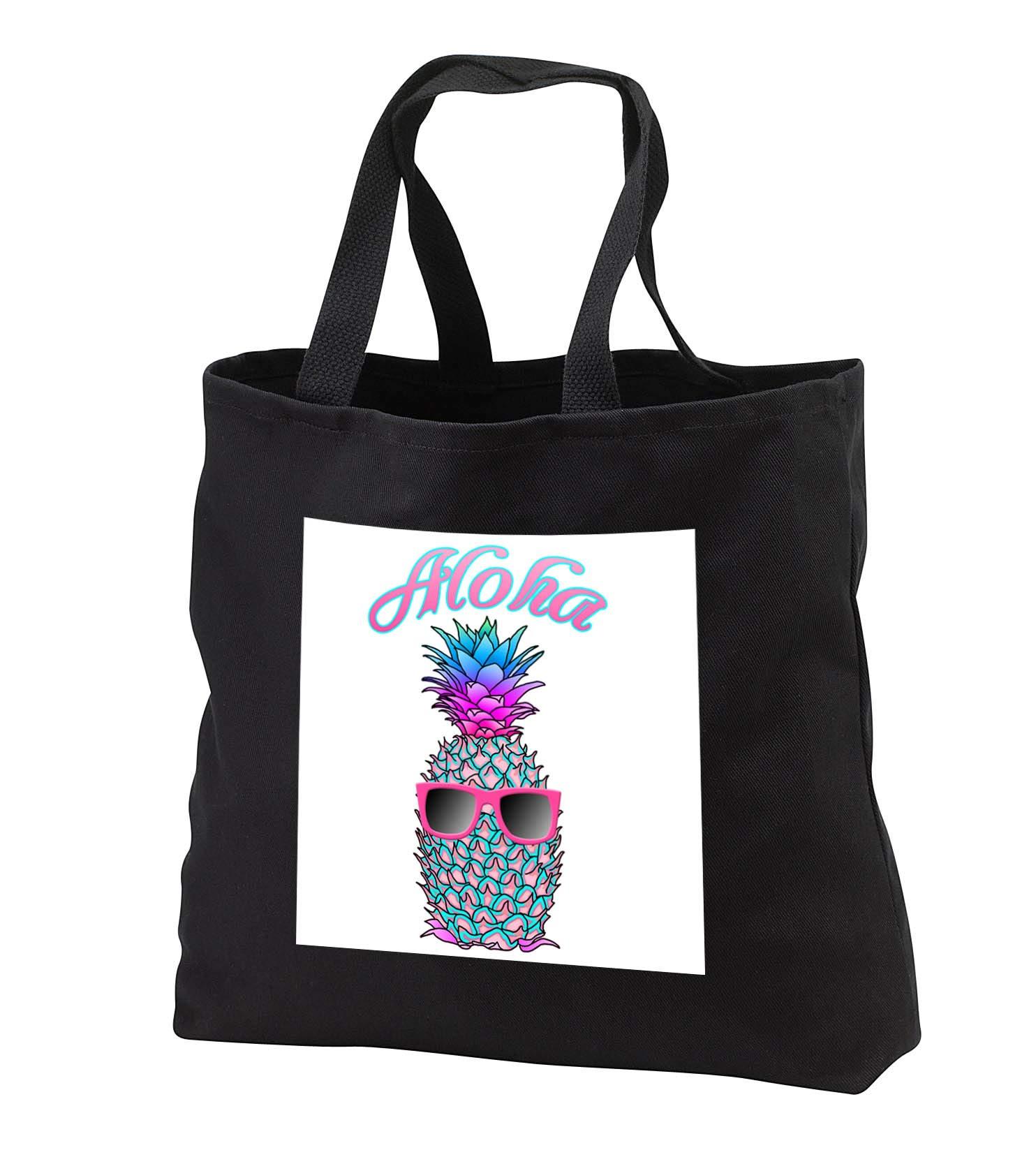 MacDonald Creative Studios - Hawaii - Aloha Hawaiian design with a cool tropical pineapple in sunglasses. - Tote Bags - Black Tote Bag JUMBO 20w x 15h x 5d (tb_291826_3)