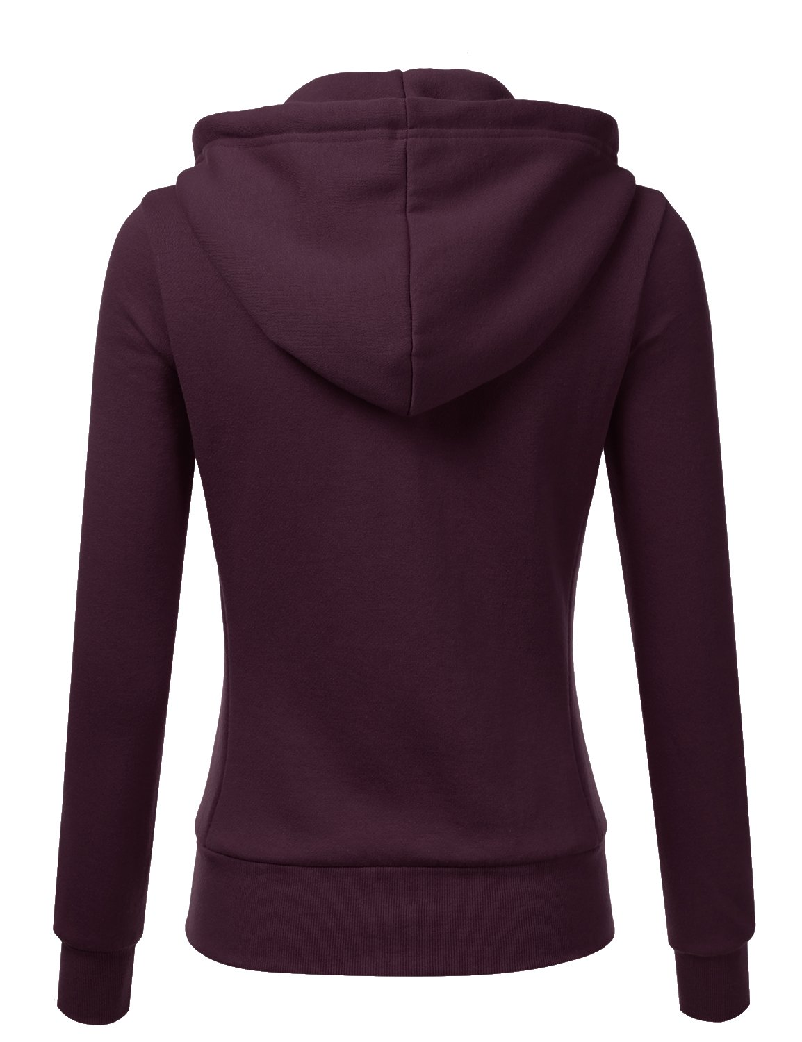Doublju Lightweight Thin Zip-Up Hoodie Jacket for Women with Plus Size Plum Large by Doublju (Image #3)