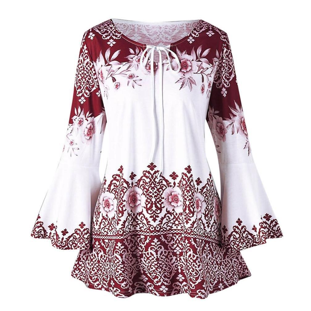 Nuoinet Clearance Women Vintage Boho Printed Tops Drawstring Keyhole Long Flare Sleeve Tunic Shirt Blouse Plus Size