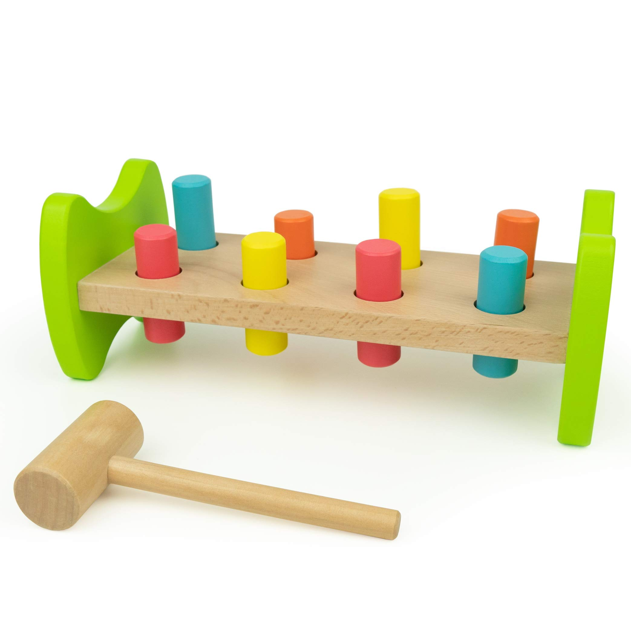 Bimi Boo Wooden Pounding Bench Classic Toy with 8 Pegs and Mallet for Toddlers