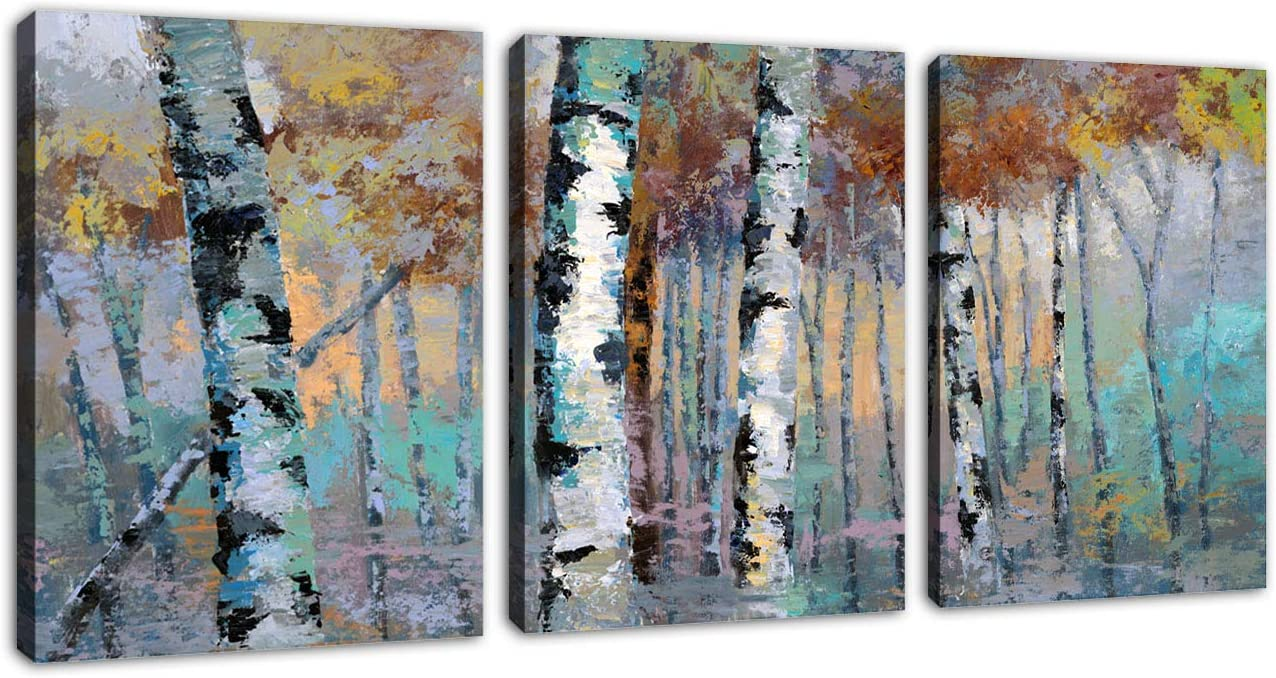 "Forest Wall Art Abstract Birch Trees Canvas Art Contemporary Wall Canvas Art Modern Abstract Painting Canvas Pictures Artwork for Living Room Bedroom Bathroom Wall Decor Framed 12"" x 16"" x 3 Pieces"
