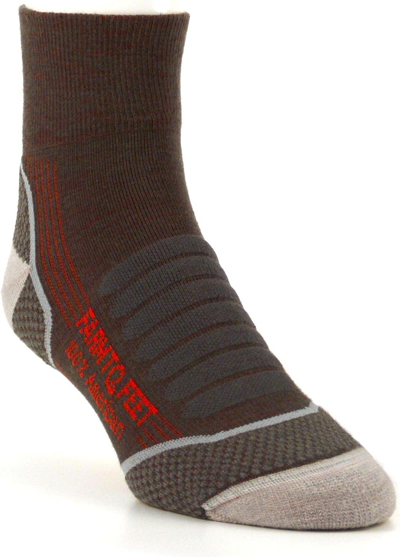 Farm to Feet Damascus Lightweight Elite Hiking 1//4 Crew Merino Wool Socks