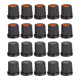 uxcell 20Pcs 6mm Shaft Hole Knob for Speaker Effect Pedal Amplifier Potentiometer Knob 2 Colors Mark