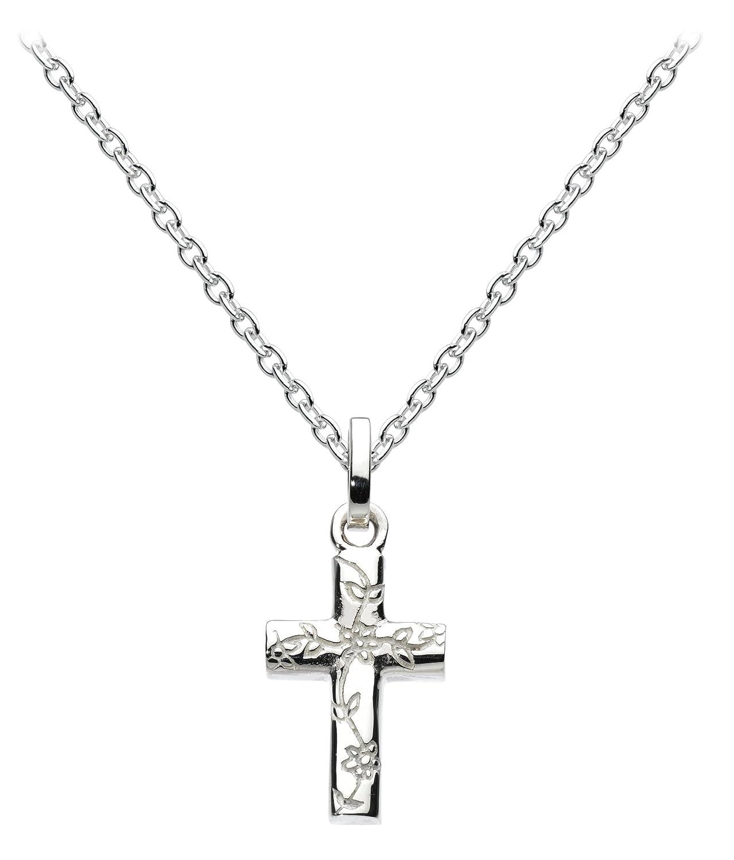 Dew Halskette Sterling Silber und Rotgold vergoldet Gravur Kreuz Lä nge 45, 7 cm 90a5rg 90A5HP