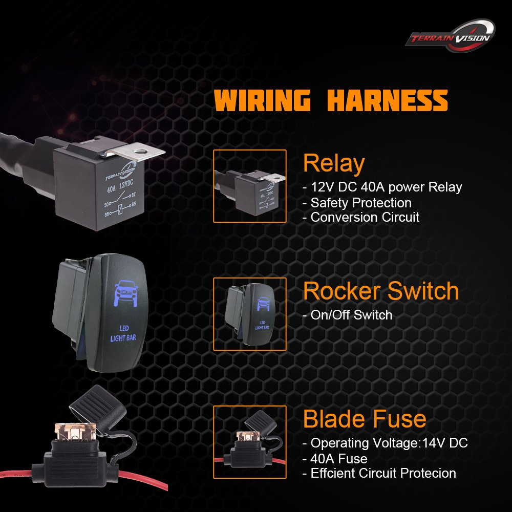Blue Led Light Bar Rocker Switch Wiring Harness 40a Relay Fuse 12v Atv Suv Jeep