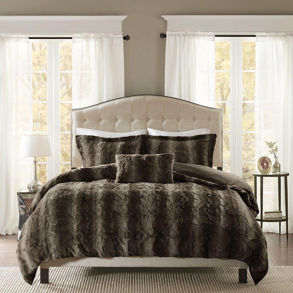 Madison Park Zuri Duvet Cover Full/Queen Size - Khaki, Animal Duvet Cover Set – 4 Piece – Faux Fur Light Weight Bed Comforter Covers