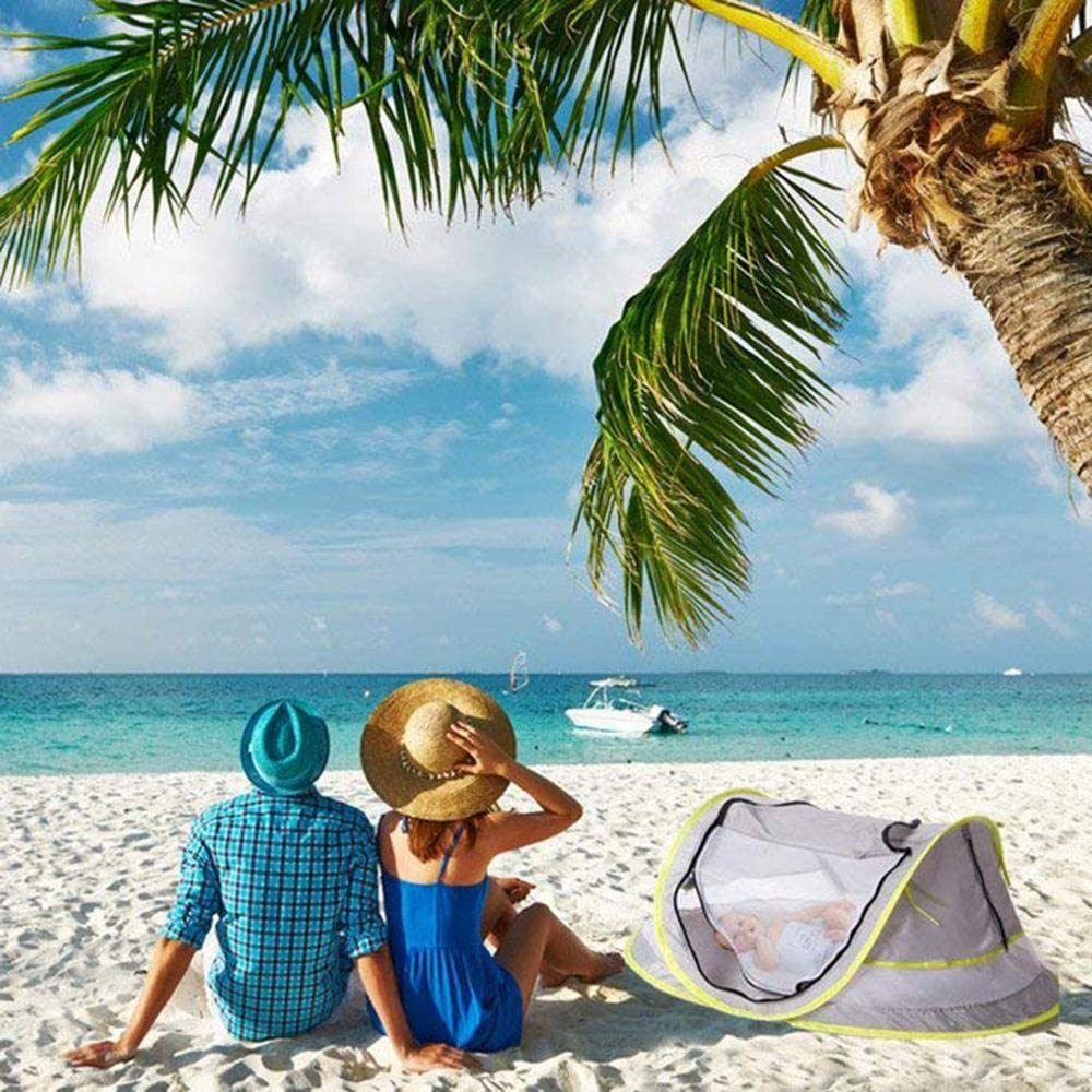 UPF 50 Infant Beach Sun Shelter Portable Baby Travel Bed Pop Up Toddler Mosquito Net Indoor /& Outdoor Lesgos Baby Beach Tent
