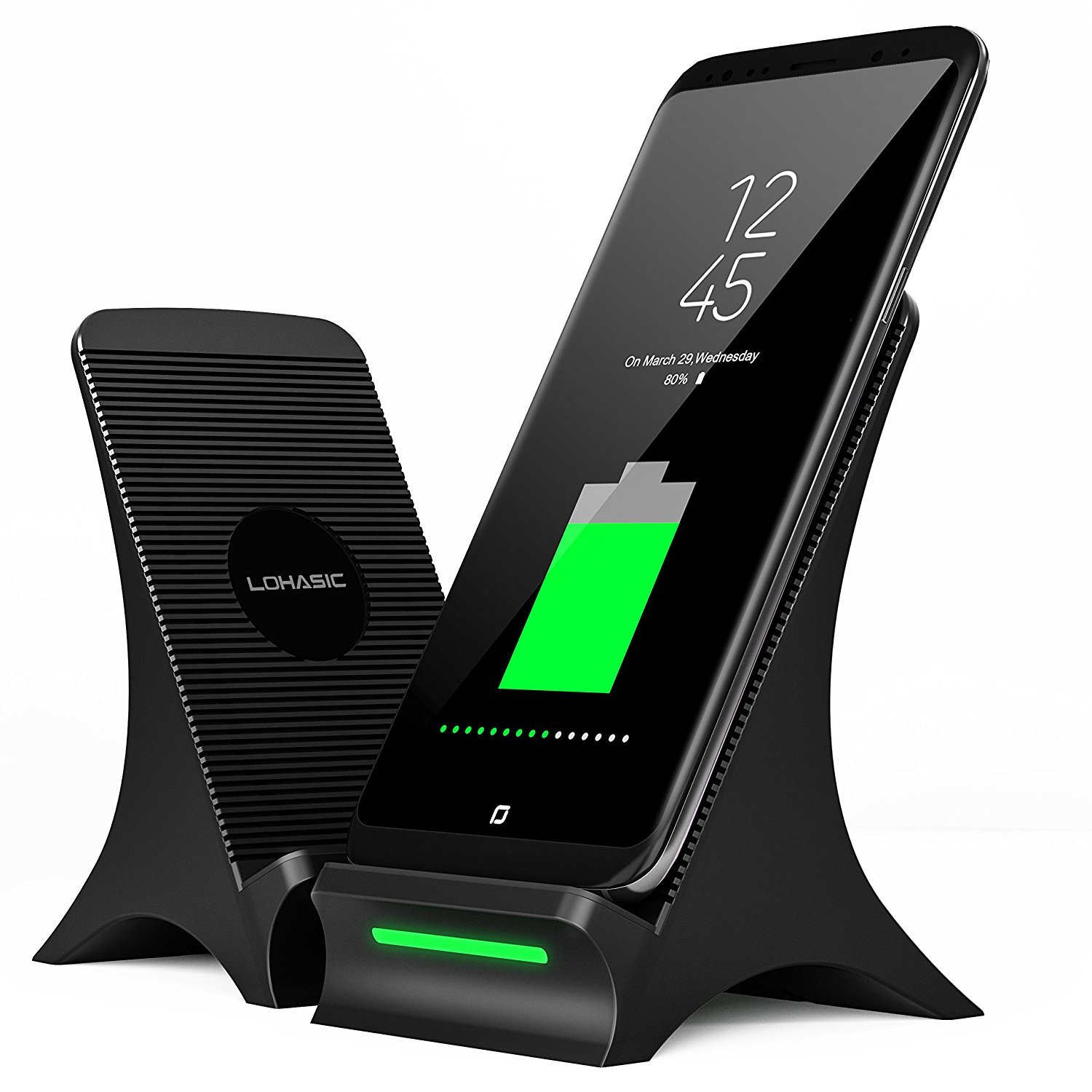 Fast Wireless Charger, Wireless Charger with Cooling Fan Stand Pad Mat Wireless Charger for iPhone X 8 Plus Samsung Galaxy S8 Plus S7 S6 Edge Plus Note 8 5 Nexus 6/7, No AC Adapter