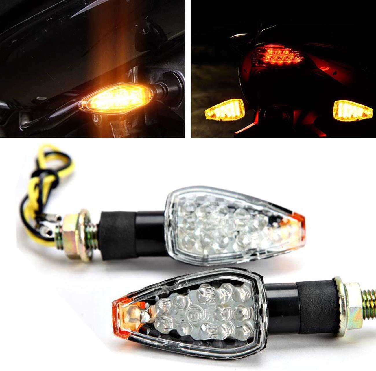 4Pcs Motorcycle Motorbike Smoke 14 LED Turn Signal Amber Lights Lamp Indicators