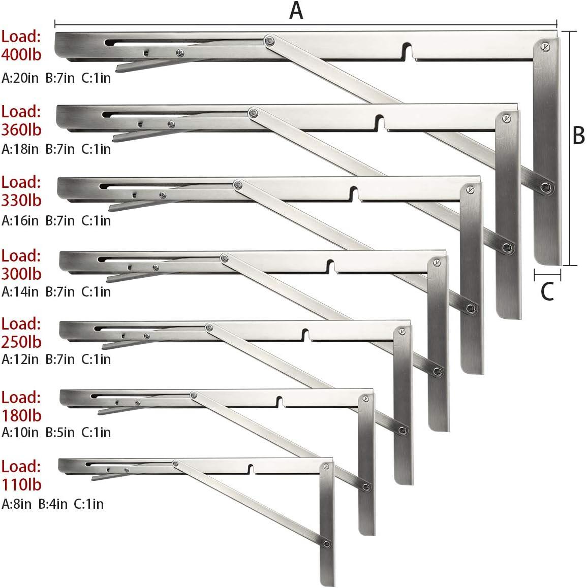 DMSL12 Inch /Équerre pliante,Support d /Étag/ères Pliants en Acier Inoxydable console pliante,/étag/ère pliable peu encombrante capacit/é de charge maximale 113 kg, 2-PACK