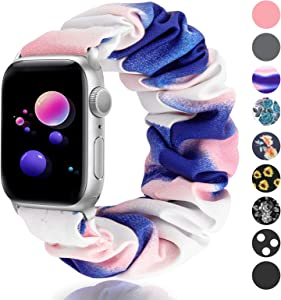 SAMYERLEN Compatible with Scrunchie Apple Watch Band 38mm 40mm 42mm 44mm, Women Cute Soft Elastic Scrunchy Bands Wristbands Bracelet Strap for Iwatch Series 6/5/4/3/2/1/SE (Gradual Blue Pink-38/40S)