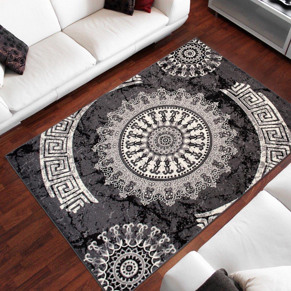 Tapiso Dream Teppich Wohnzimmer Modern Grau Creme Creme Creme Schwarz Kreise Meliert Kurzflor Design Gästezimmer Schlafzimmer Esszimmer ÖKOTEX 140 x 200 cm B07HFV2RQJ Teppiche 0d3960