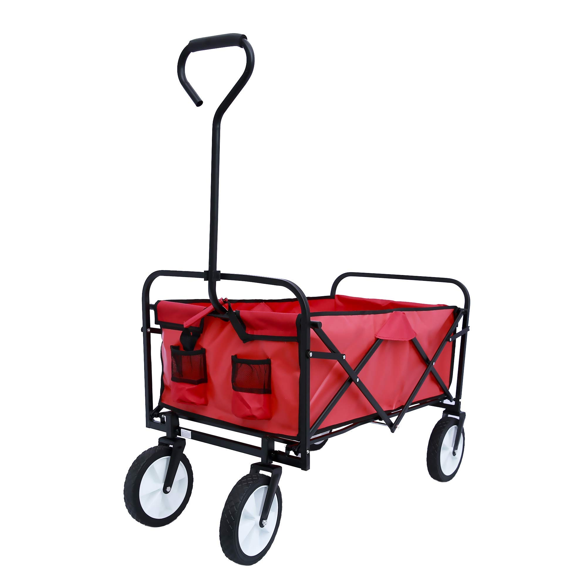 ALI VIRGO Collapsible Wagon, Folding Camping Wheelbarrows,Outdoor Garden Shopping Beach Heavy Duty Utility Cart with All-Terrain Wheels, (Stylish Red) by ALI VIRGO