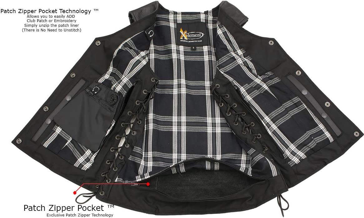 Small Xelement XS4505 /'Flannel/' Women/'s Black Leather Vest with Snap Button Closure