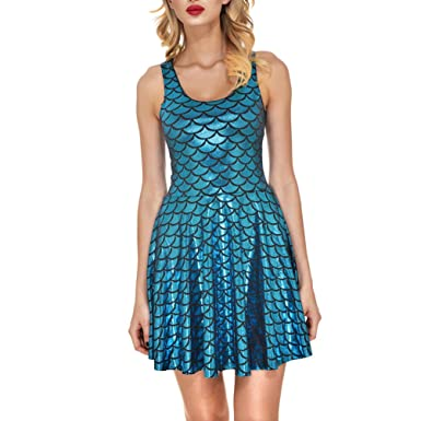 AISKLY Womens Mermaid Dress Plus Sleeveless Shiny Short Tank Pleated ...