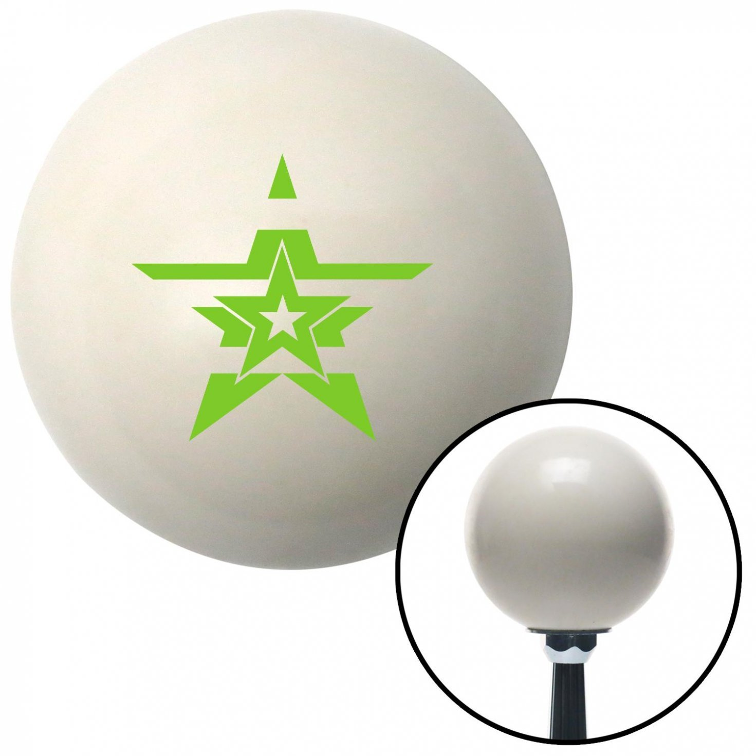 American Shifter 41011 Ivory Shift Knob with 16mm x 1.5 Insert Green Stars with Stripes