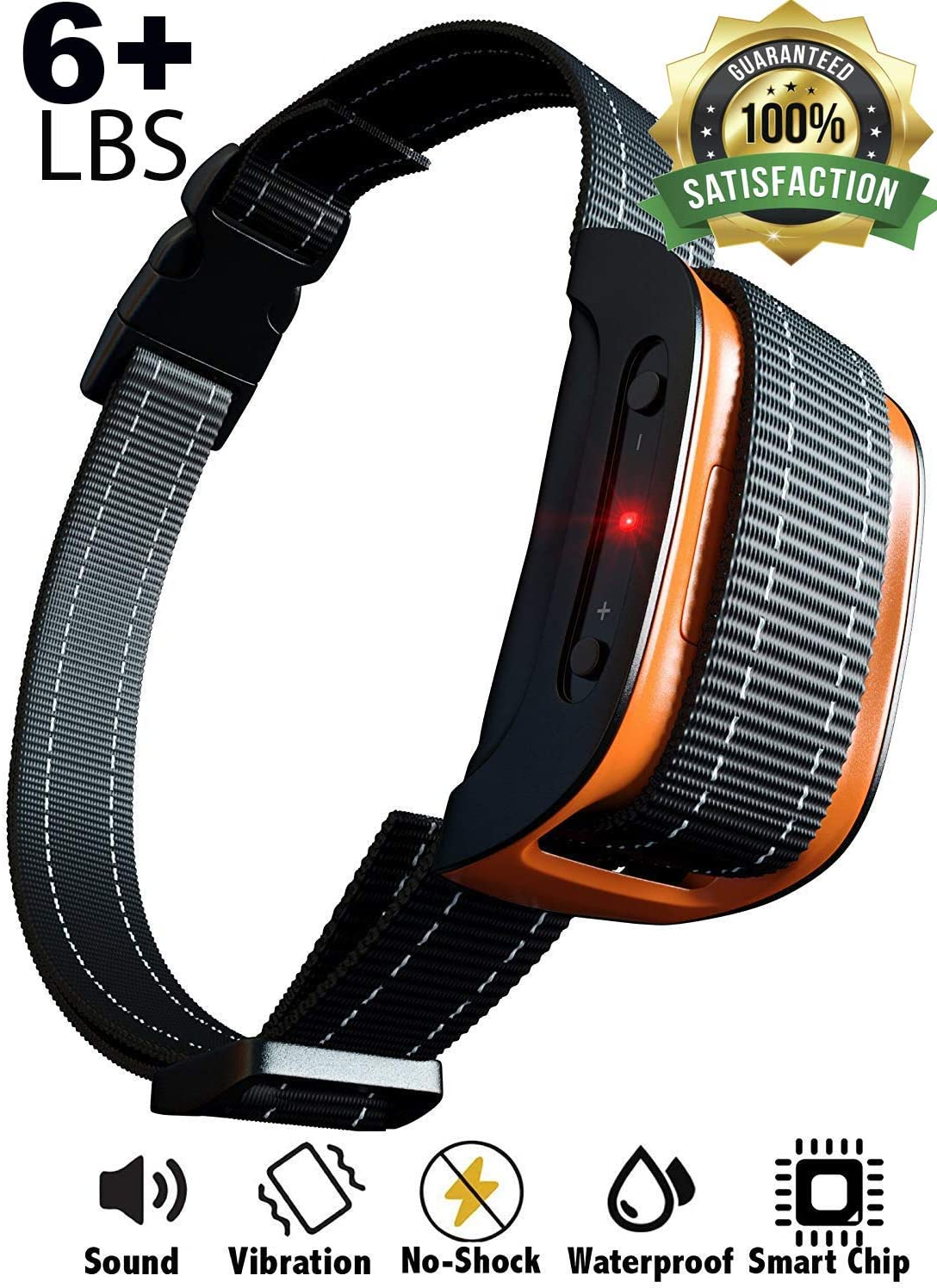 Bark Collar 2020 Superhuman CHIP Best for Small Medium Large Dogs, Most Effective Anti Bark Device 7 Sound and Vibro Modes, No Harmful Shock, No Pain for a Dog, Hypoallergenic Black Orange
