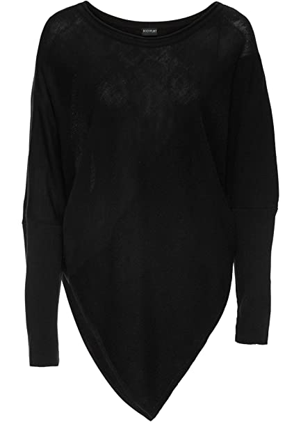 a98608abbb5e Damen Pullover Schwarz Zipfel Poncho Look Asymmetrisch Größe 36 bis 50  Langarm Neu 54607 (44