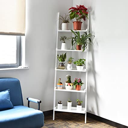 White 5 Tier Bookcase Bookshelf Leaning Wall Shelf Ladder Storage Display Furni