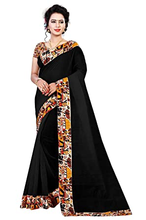 88ac873fb93993 Dhwani Enterprise Women's Black Printed Traditional Chanderi Silk Saree  With Blouse Piece