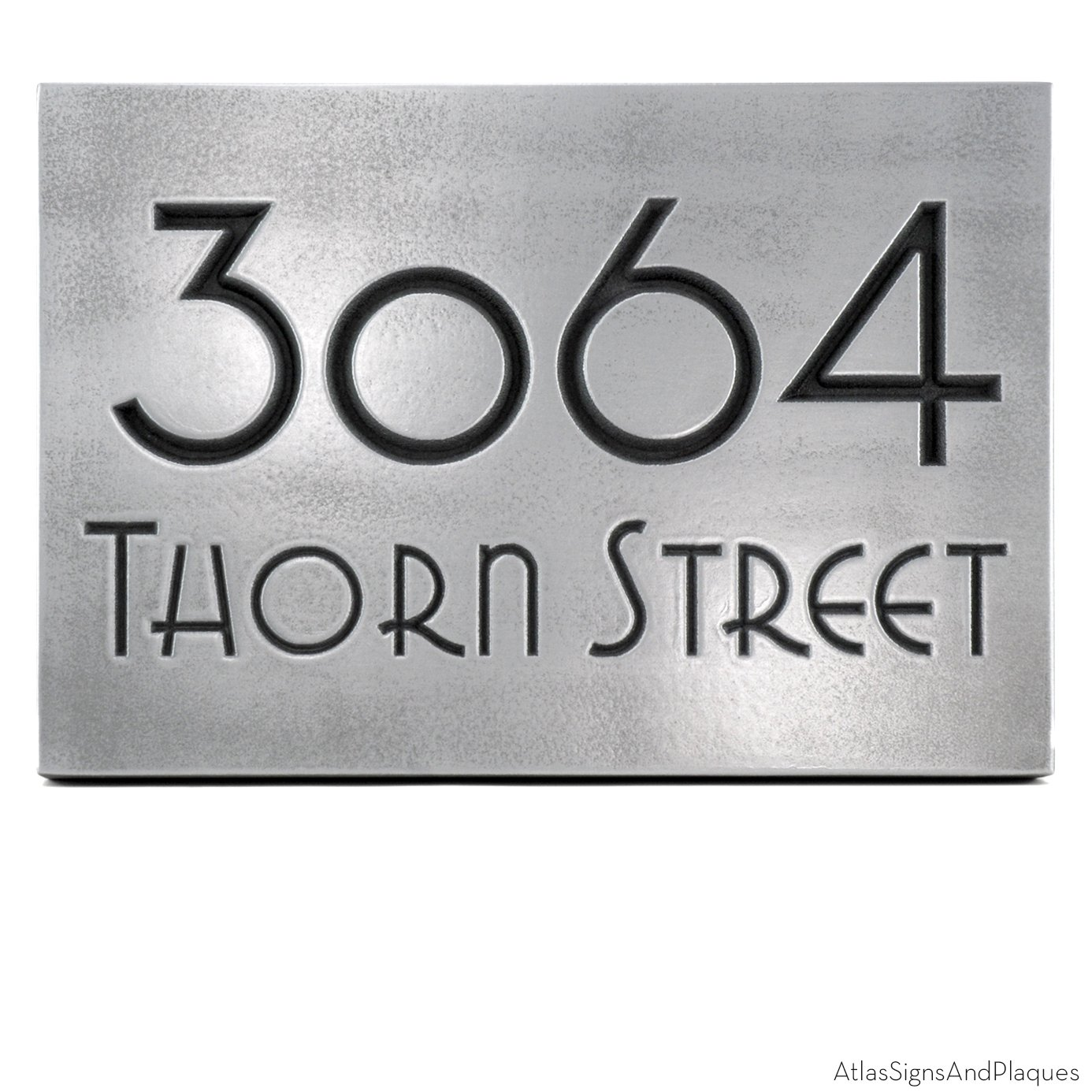Grado Gradoo Address Plaque 12.5x8.75 - Recessed Pewter Coated by Atlas Signs and Plaques