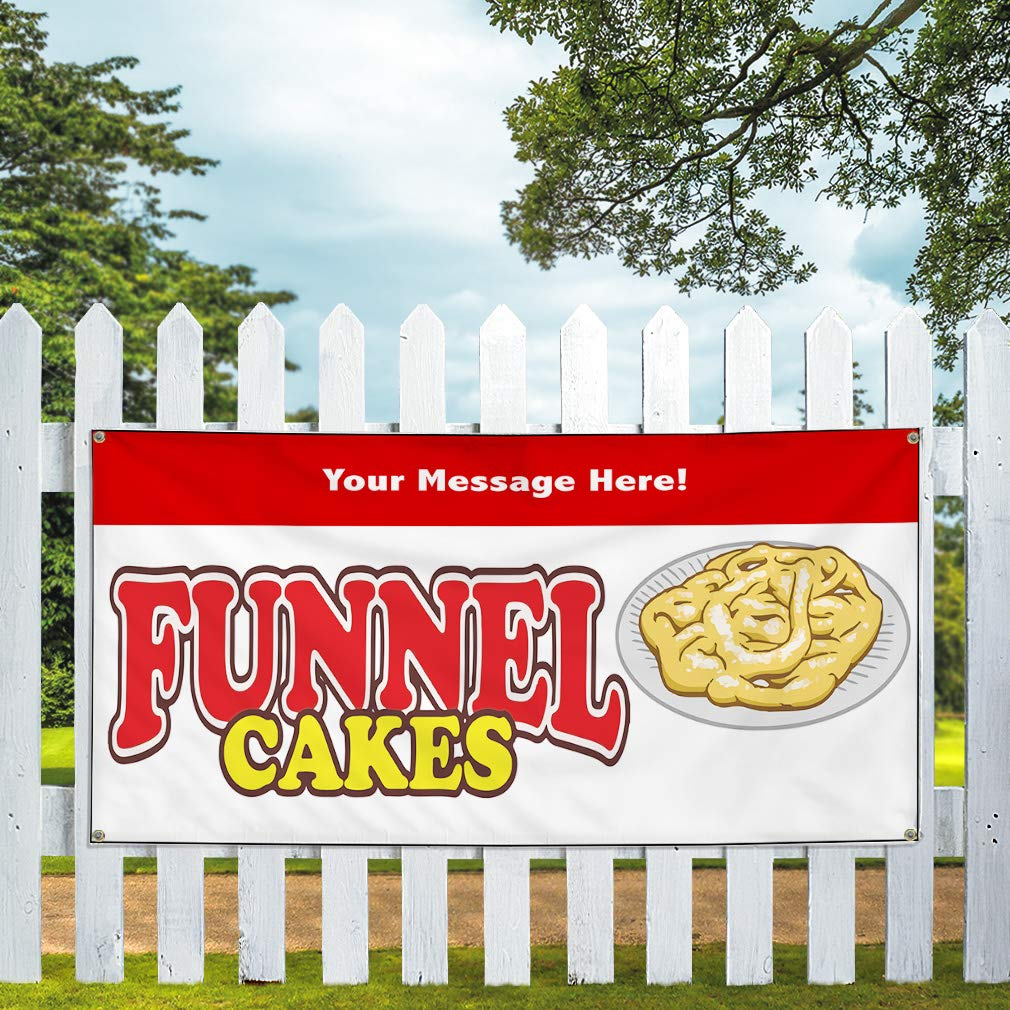 Custom Industrial Vinyl Banner Multiple Sizes Funnel Cakes Style C Personalized Text Here Funny and Novelty Outdoor Weatherproof Yard Signs Red 6 Grommets 32x80Inches