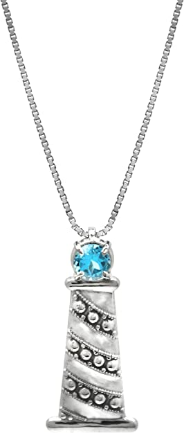 Sterling Silver Jewelry Pendants /& Charms 7 22 mm Blue Topaz Pendant