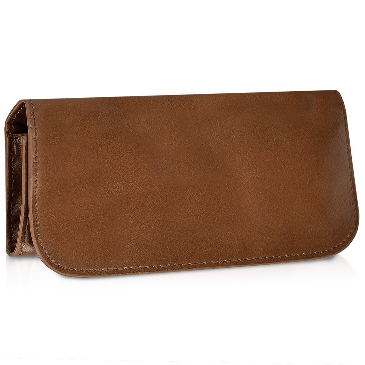 kalibri Natural Leather Tobacco Pouch - Small Soft Leather Case for Rolling Tobacco and Pipe Tobacco