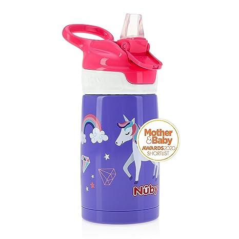 Nuby Sippy Cup, botella de agua de acero inoxidable para niños, rosa brillante, de