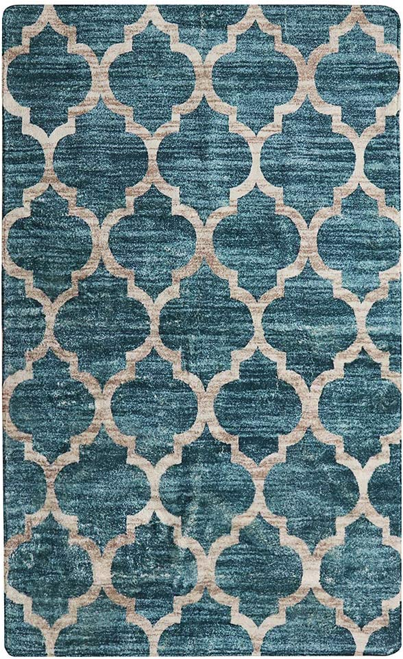 Lahome Moroccan Area Rug - 4' X 6' Faux Wool Non-Slip Area Rug Accent Distressed Throw Rugs Floor Carpet for Living Room Bedrooms Laundry Room Decor (4' X 6', Blue)