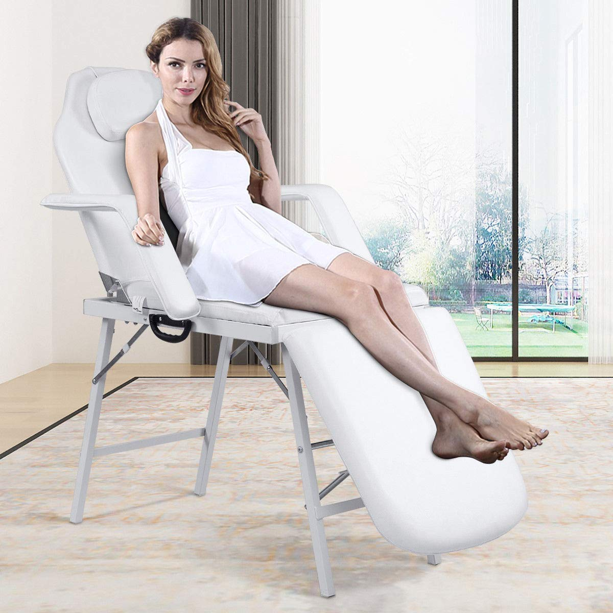 Adjustable Barber Spa Salon Massage Bed Facial Beauty Tattoo Chair White (73'') by Gentle Shower (Image #7)