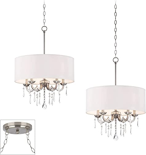 Georgiana Brushed Nickel Swag Pendant Chandelier Modern Crystal Off White Drum Shade 2-Light Fixture