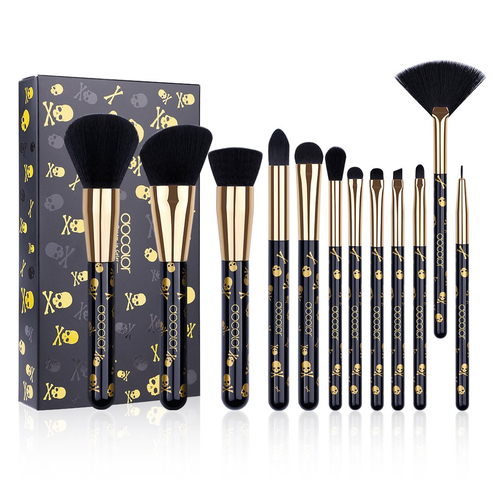 Docolor Goth Makeup Brush Set,12Pieces Professional Makeup Brushes Face Powder Foundation Blending Blush Eye Shadow Cosmetics Brushes with Box