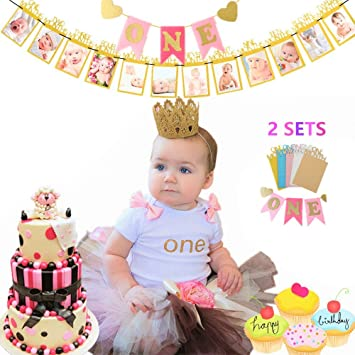 year old with cat flag and jumbo jute pom poms or 1 Birthday Banner for 2
