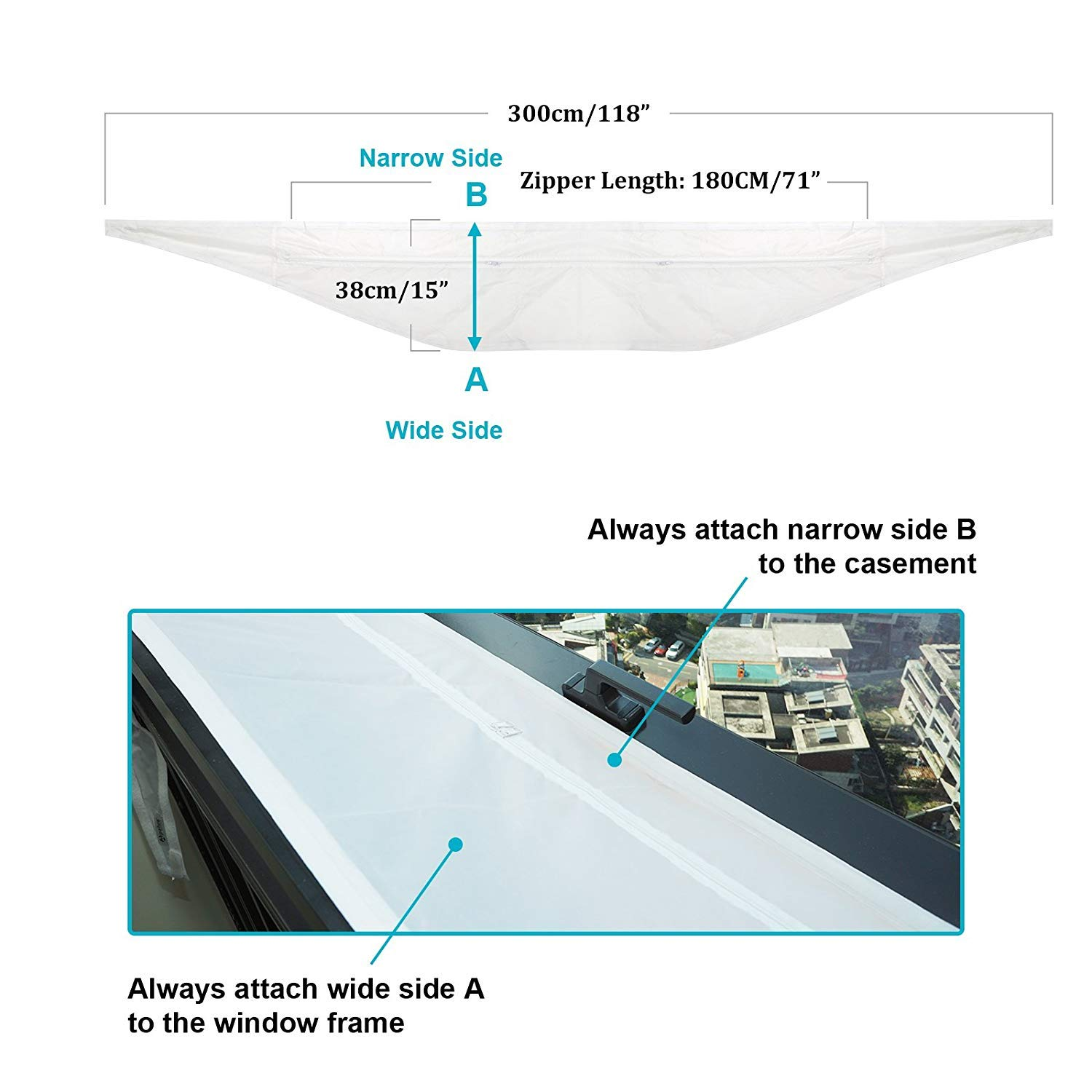 HOOMEE 300 cm Universal Window Seal for Portable Air Conditioner and Tumble Dryer – Works with Every Mobile Air-Conditioning Unit, Easy to Install - Air Exchange Guards with Zip and Adhesive Fastener by HOOMEE (Image #6)