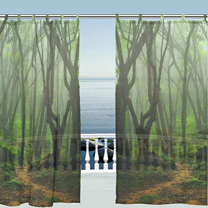 Alaza Window Curtain Sheer Panels Nature Landscape Green Forest Tree Leaves Door Window Treatments Sheer Curtains Gauze Curtains Living Room Bedroom Window Tie Top Curtain 55x78 Inch Two Panels Set Home Kitchen Amazon Com
