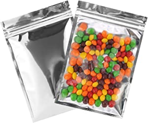 Resealable Mylar Bags | 100 Pcs 5 X 7 Inch | Smell Proof Ziplock Bag Heat Seal Cute Packaging Foil Food Bags Sealable Large Front Clear Plastic Silver for Storage Candy Beef Jerky Jewerly Product