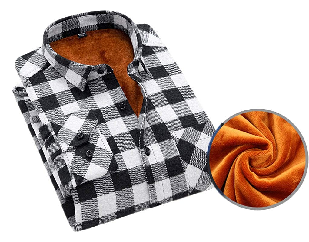 Soojun Mens Fleece Lined Plaid Thermal Flannel Shirt