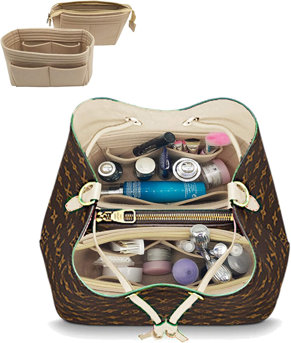 LEXSION Organizer,Bag Organizer,Insert purse organizer with 2 packs in one set fit LV NeoNoe Noé Series perfectly
