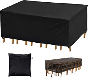 Patio Furniture Covers, 95 x 64 x 39 inch Waterproof Outdoor Table Cover, Mantentop Durable 420D UV Protection Patio Cover Fits for 8-12 Seats